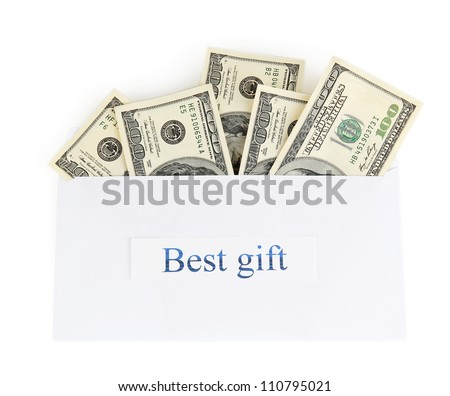 The envelope with the money bills isolated on white. Best gift.