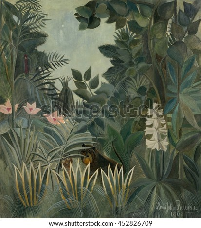 The Equatorial Jungle, by Henri Rousseau, 1909, French painting, oil on canvas. Henri Rousseau was a clerk in the Paris toll service when he retired at age 49 to become a full-time artist. His works,