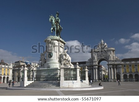The equestrian statue of King José I is located in the center of the majestic Commerce Square in Lisbon.