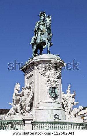 The equestrian statue of King Jose I, located in the center of the majestic Commerce Square in Lisbon.