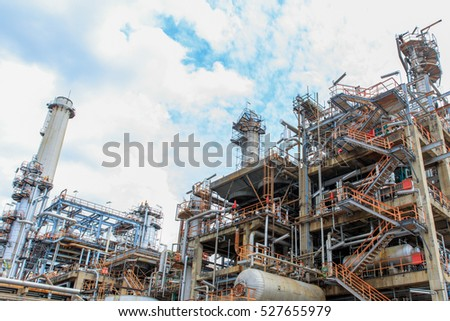 The equipment of oil refining, Detail of oil pipeline with valves in large oil refinery, Industrial zone.
