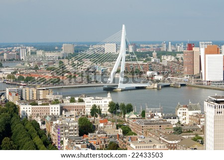 The Erasmus bridge over the river Maas in Rotterdam