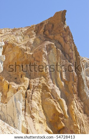 the eroding sand cliffs at Alum Bay, Isle of Wight