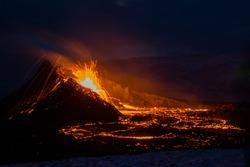 The eruption site of Geldingadalir in Fagradalsfjall mountain on the Reykjanes Peninsula in Iceland