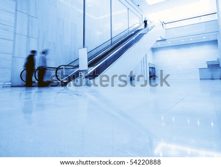 The escalator inside the building