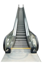 The escalator up side isolated on white background. This has clipping path,.