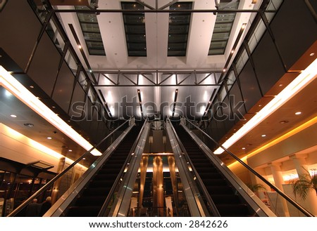 The Escalators in the terminal of airport