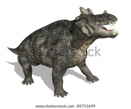 The Estemmenosuchus dinosaur (therapsid) lived during the Middle Permian period - 3d render.