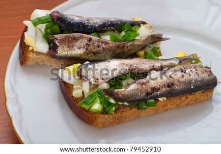 The Estonian national sandwich on a plate