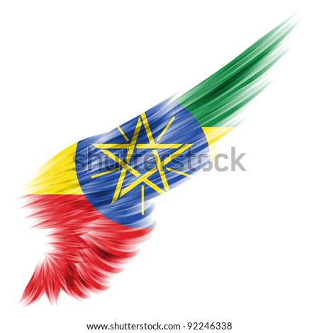 The Ethiopia flag on Abstract wing with white background