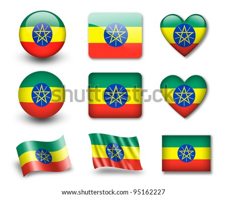 The Ethiopia flag - set of icons and flags. glossy and matte on a white background.