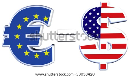The Euro approaches parity with the Dollar on financial exchange markets - stock photo