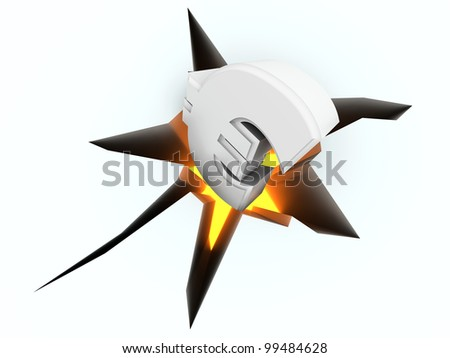 The euro crashing into the floor. Symbolic for a currency crisis. 3d rendered illustration. Isolated on white.
