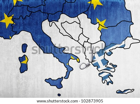 The European map with the scissors that cut Greece