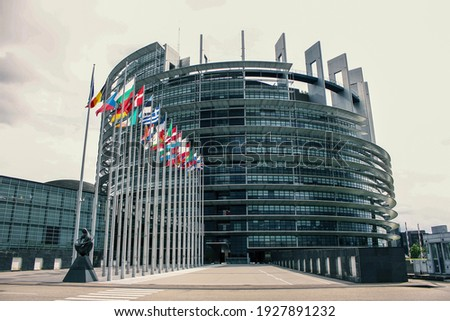 The European Parliament building, in Strasbourg, France Photo stock ©
