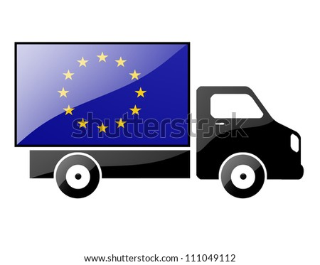The European Union Flag painted on the silhouette of a truck. glossy illustration