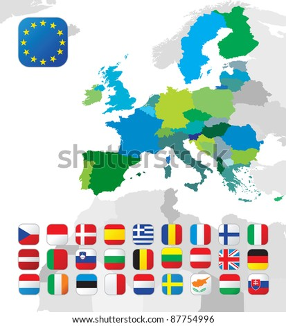 The European Union map with flags - stock photo