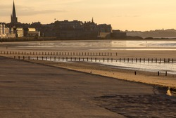 The evening light on beach and olt town of Saint Malo , France, Ille et Vilaine, Brittany, France,