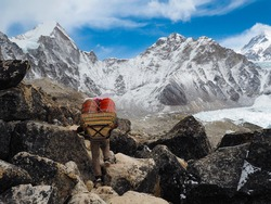 The Everest Base Camp trek on the south side, at an altitude of 17,900 feet (5,500 m)