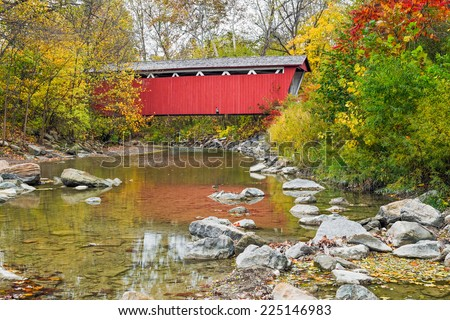 The Everett Covered Bridge crosses Furnace Run in Ohio's Cuyahoga Valley National Park.