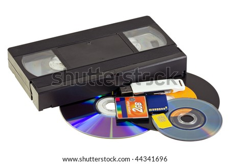 The evolution of entertainment media, film strips, compactflash, video, DVD, CD.