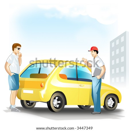 The Expert Man Looking at the Yellow Used Car and Talking with Auto Salesman. Vector Illustration