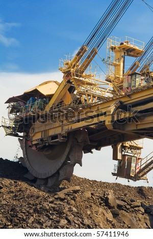 the exploition machine in opencast coal mine - Czech Republic