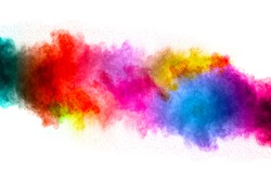 The explosion of color powder. Beautiful powder fly away. The cloud of glowing color powder on white background.Launched colorful powder, isolated on white background.