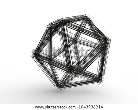 Stock Photo The explosion of multifaceted polygonal geometric shapes on many pieces, the fragments in space. The atomic lattice. Illustration on white background, riddle, 3D rendering