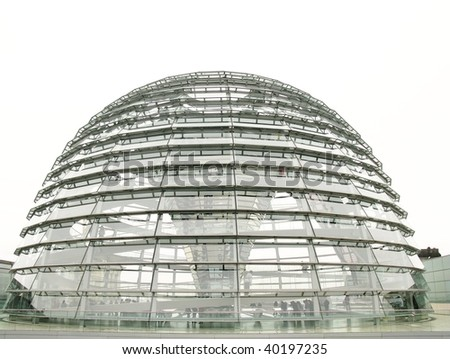 The exterior of the dome at the reichstag building in Berlin - stock photo