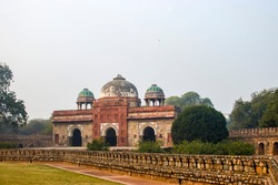 The exterior view of Mosque of Isa Khan in new Delhi India. It is in the same place of humayun tomb and Tomb of Isa Khan