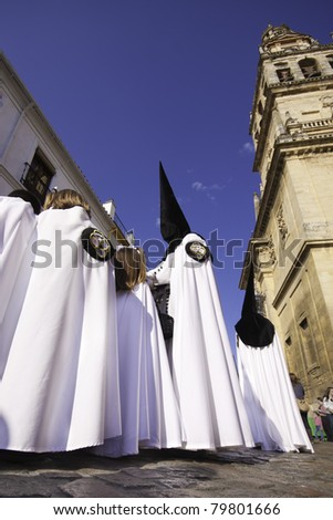 The extraordinarily  Christian procession of the Semana Santa (Holy Week) in Cordoba, Spain.