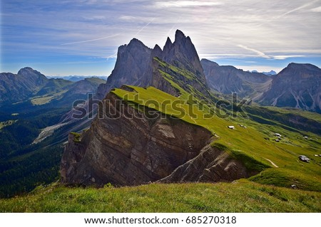 The fabulous Odle group (Geislergruppe), dolomites, alps, Italy. The Odle mountains chain separates the Funes valley from the Gardena valley, taken from the Seceda refuge, Italian alps.  #685270318