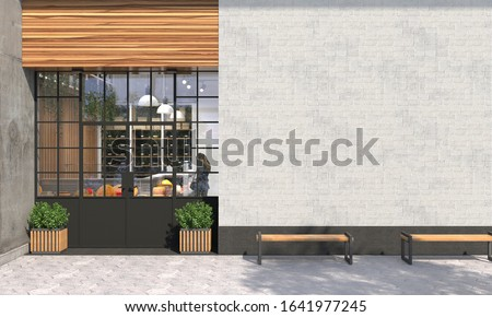 The facade of a store or cafe with an entrance group and blank wall in front view. Free space for signage, advertising banners and posters. Exterior and architecture design. 3D render ストックフォト ©