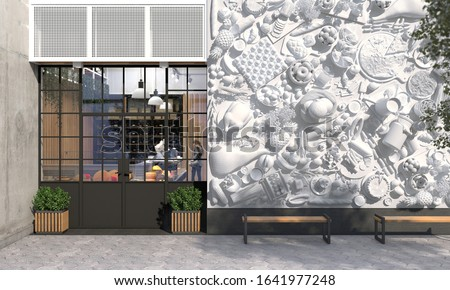 The facade of a store or cafe with an entrance group. Creative exterior decoration of the exterior wall in front view. Free space for signage. Exterior and architecture design. 3D render ストックフォト ©