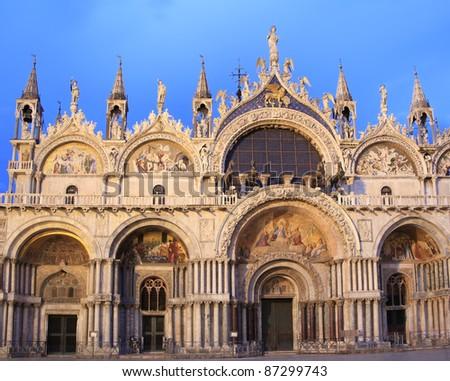 The facade of the Basilica di San Marco at dusk, Venice, Italy