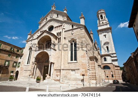 The facade of the catholic middle ages romanic cathedral  in Verona, the city of Romeo and Juliet, Italy