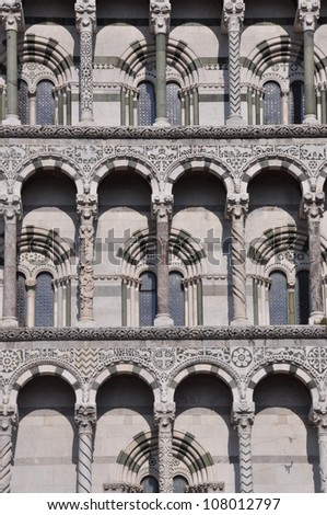 The facade of the San Michele in Foro in Lucca Toscana