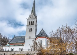 The facade of the St  Martin's Parish Church in Bled, northwestern Slovenia