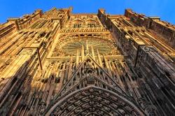 The Facade Strasbourg Cathedral, Strasbourg, France.
