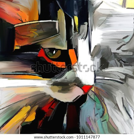 The face of a cat in a contemporary style of abstract art. The painting is executed in oil on canvas with elements of pastel painting.