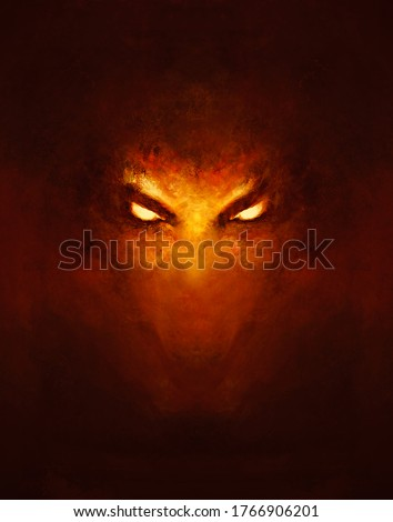 the face of a demon with glowing eyes, in the dark - a painting Stock photo ©