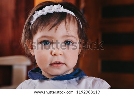 2f1a081c6 Royalty-free Color image of Infant girl making a…  682160356 Stock ...