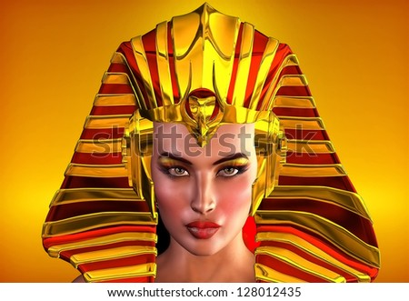 The Face Of Egypt. This is a romanticized portrait of the first female pharaoh of Egypt, Hatshepsut.  Inspiration for use as Nefertiti, Cleopatra, or to portray any ancient Egyptian queen - stock photo