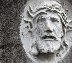 The face of Jesus Christ during the suffering on the cross. Prayer for peace