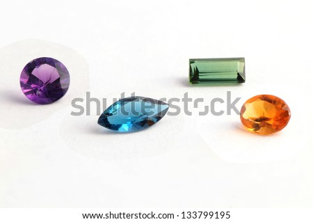 the faceted stones on white background.