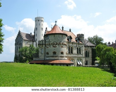 The fairy tale lichtenstein castle with its white watchtower in the Black Forest in Germany