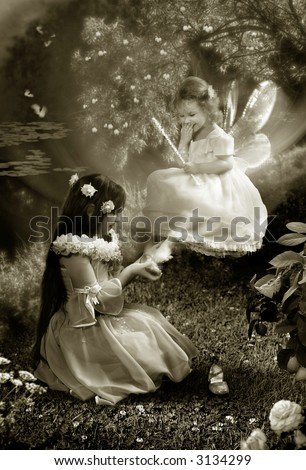 The Fairy-tale night. Two young girls try the small shoes and laugh.  The photography is made in studio. After processing in editor. All detail on photo take from the personal archive