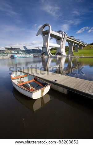 The Falkirk Wheel, a rotating boat lift linking the Forth and Clyde Canals with the Union Canal in Central Scotland. Opened in 2002, this engineering landmark is the only one of its kind in the world.