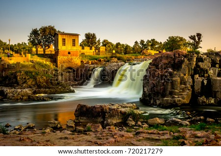 The falls that give their name to the city - Sioux Falls, South Dakota. #720217279